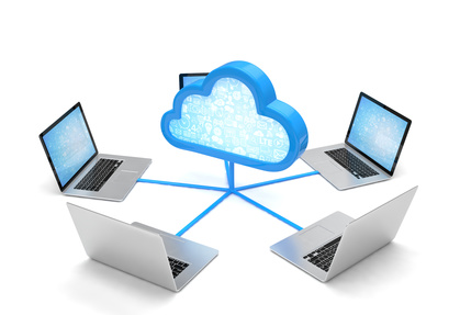3d cloud symbol and laptops